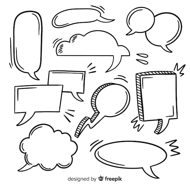 Hand drawn speech bubble with space collection Free Vector