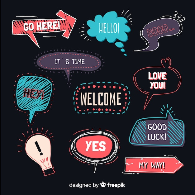 Hand drawn speech bubbles on black background Free Vector