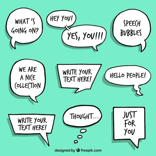 Hand drawn speech bubbles collection