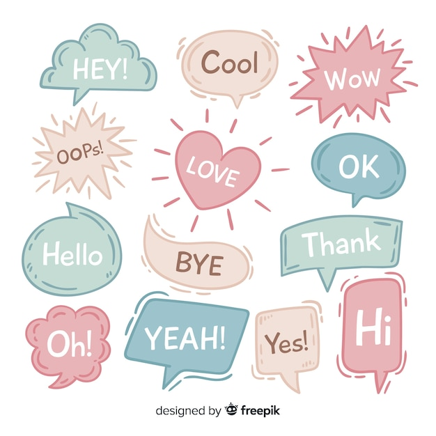 Hand drawn speech bubbles on white background Free Vector