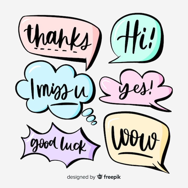 Hand drawn speech bubbles with different expressions collection Free Vector