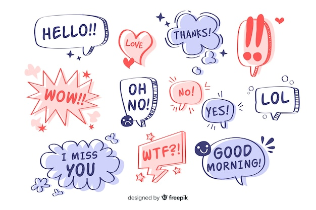 Hand drawn speech bubbles with different expressions Premium Vector