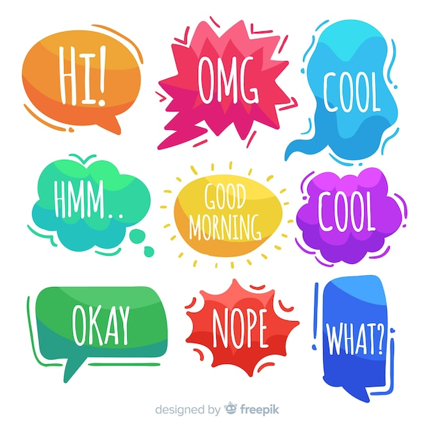 Hand-drawn speech bubbles with expressions Free Vector