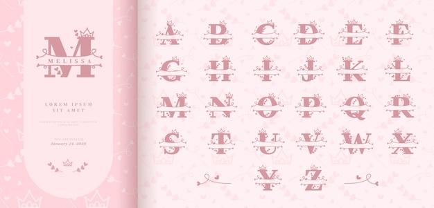 Hand drawn split letters for baby girl name Premium Vector