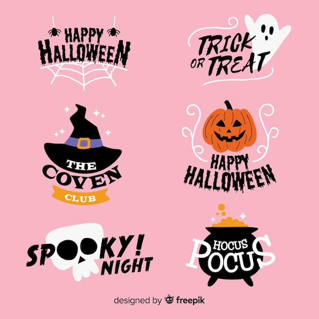 Hand drawn spooky halloween label collection Free Vector