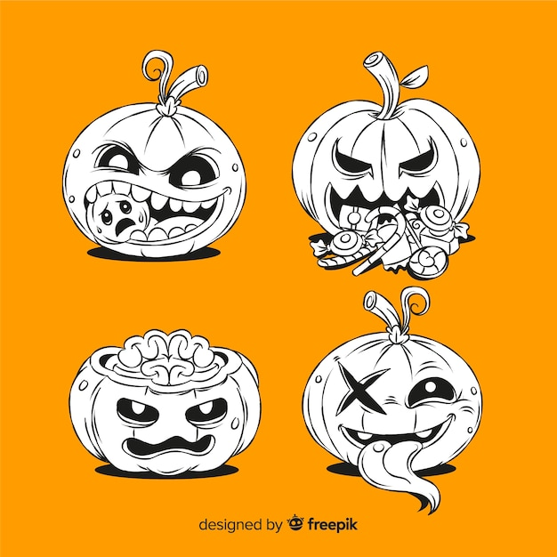 Hand drawn spooky pumpkins on orange background Free Vector
