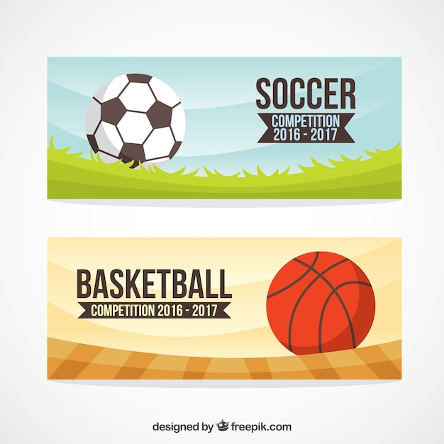 Hand drawn sport balls banners