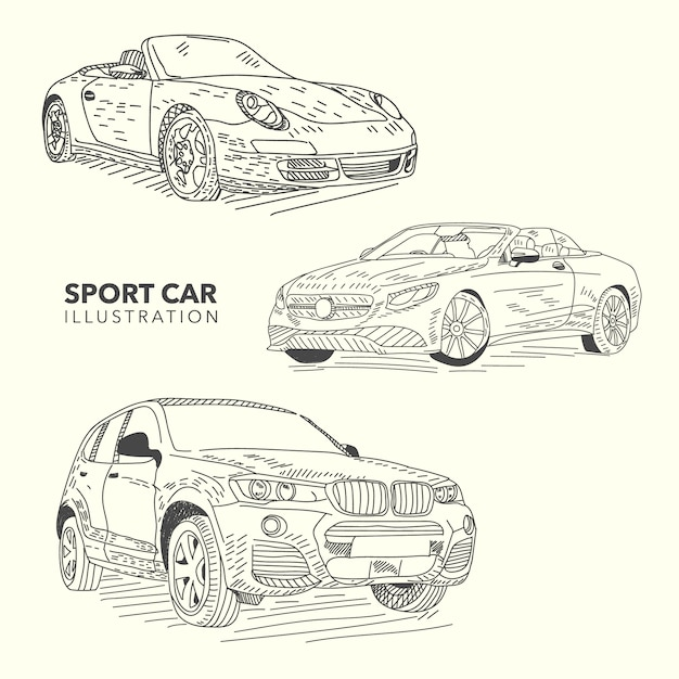 Free Vector Hand Drawn Sport Cars Collection