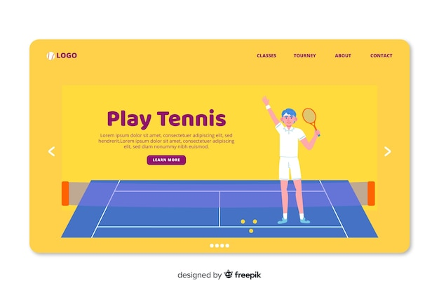 Hand drawn sport landing page template Free Vector