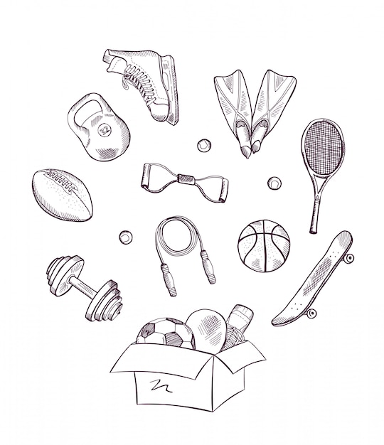 Hand drawn sports equipment jumping out of the box Premium Vector