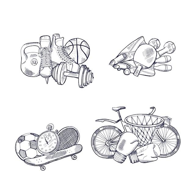 Hand drawn sports equipment piles set. Premium Vector