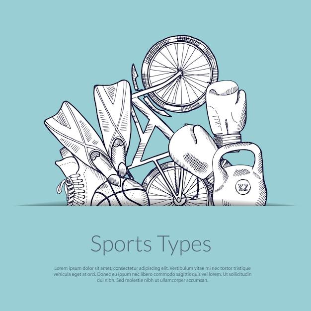 Hand drawn sports equipment Premium Vector