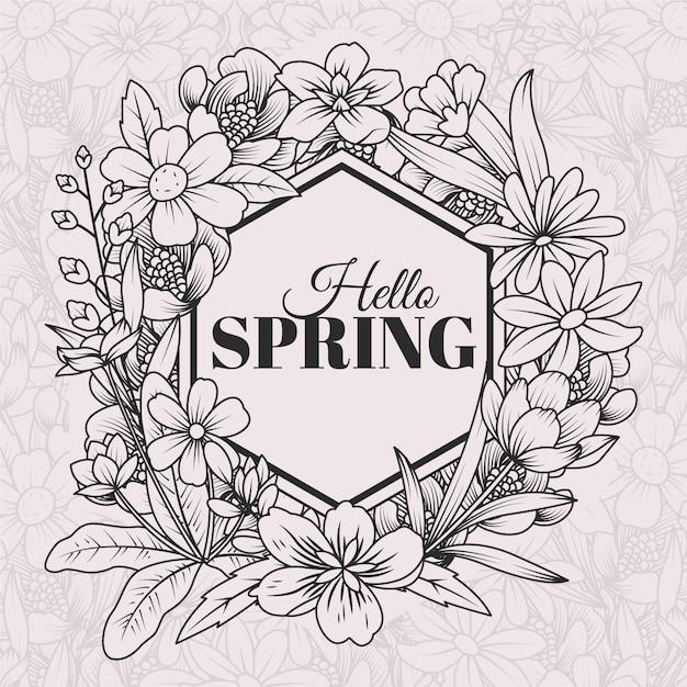 手描きの春の背景 無料ベクター