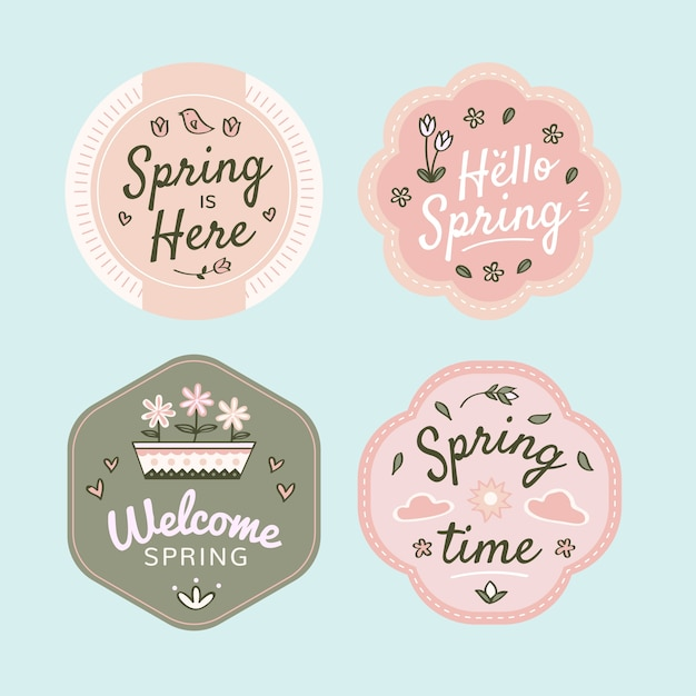 Hand-drawn spring badge collection design Free Vector