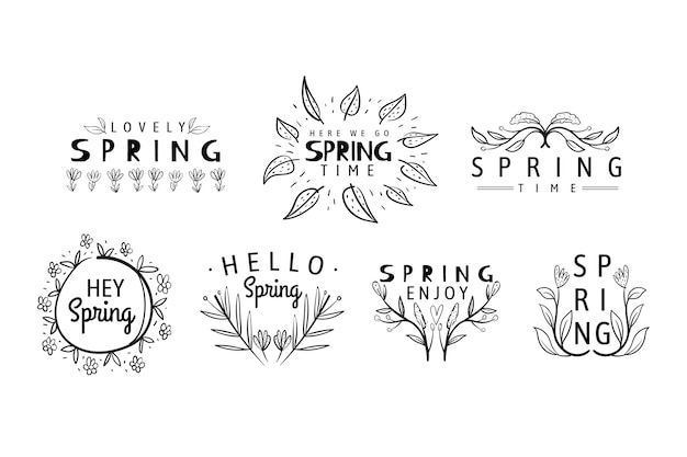 Hand drawn spring badge collection Free Vector