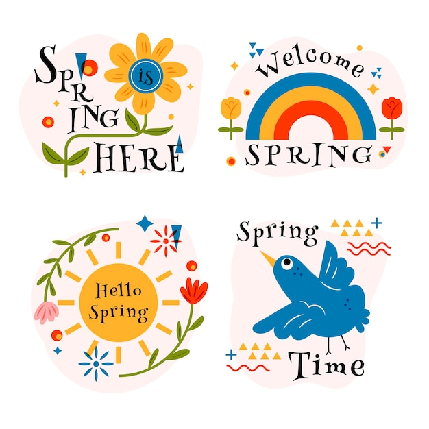 Hand-drawn spring badge collection Free Vector