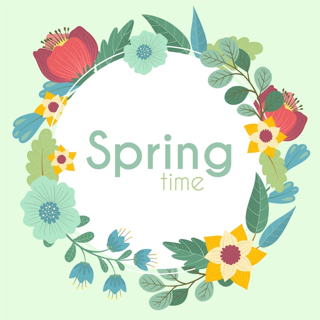 Hand drawn spring floral frame concept Free Vector