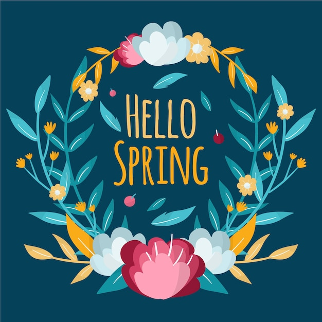Hand drawn spring floral frame with colorful flowers Free Vector