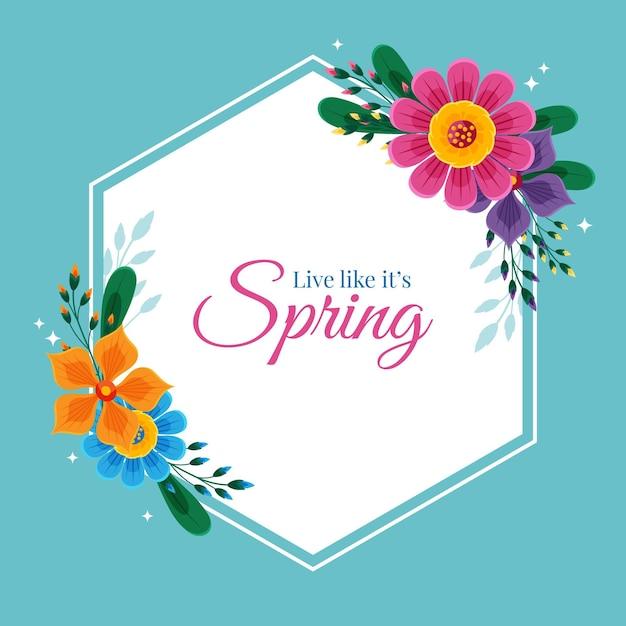 메시지와 함께 손으로 그려진 된 봄 꽃 프레임 무료 벡터