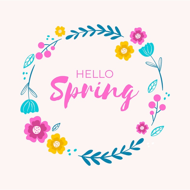 Hand drawn spring floral frame Free Vector