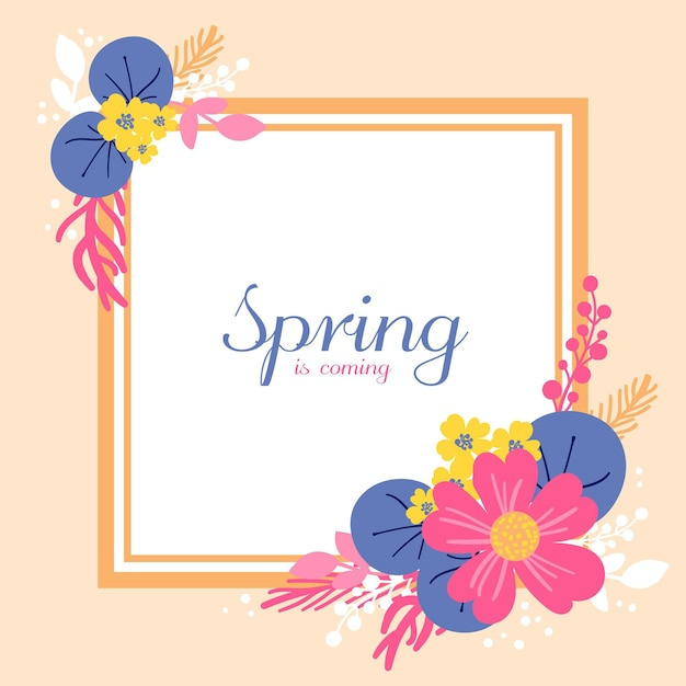 손으로 그린 된 봄 꽃 프레임 무료 벡터