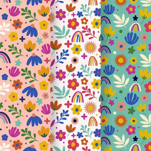 手描き春花柄コレクション 無料ベクター
