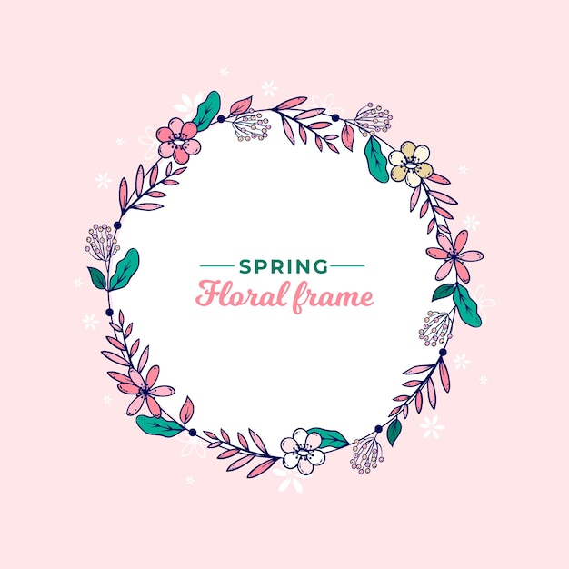 Hand drawn spring floral wreath frame Free Vector