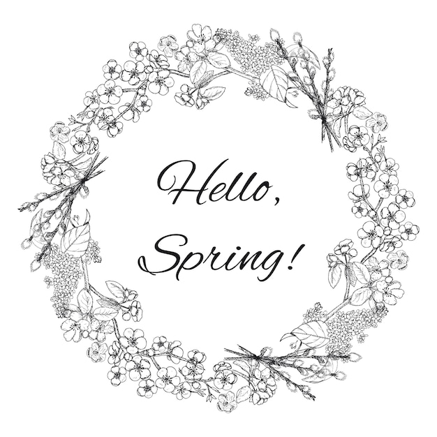 Hand drawn spring floral wreath template Free Vector