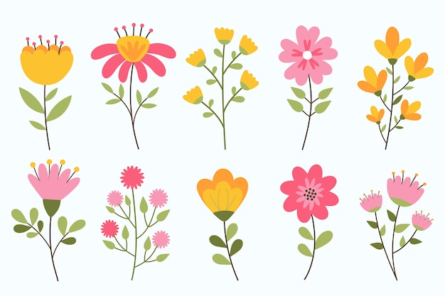 Hand drawn spring flower collection isolated on white background Premium Vector