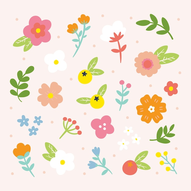 Hand drawn spring flower collection Free Vector