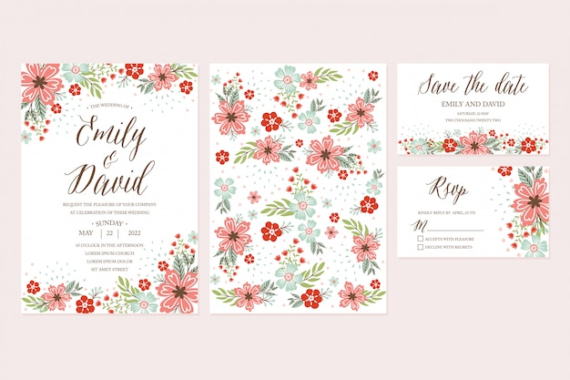 Hand drawn spring flower wedding invitation, thank you card, rsvp, save the date. printable templates with floral, flower collection Premium Vector