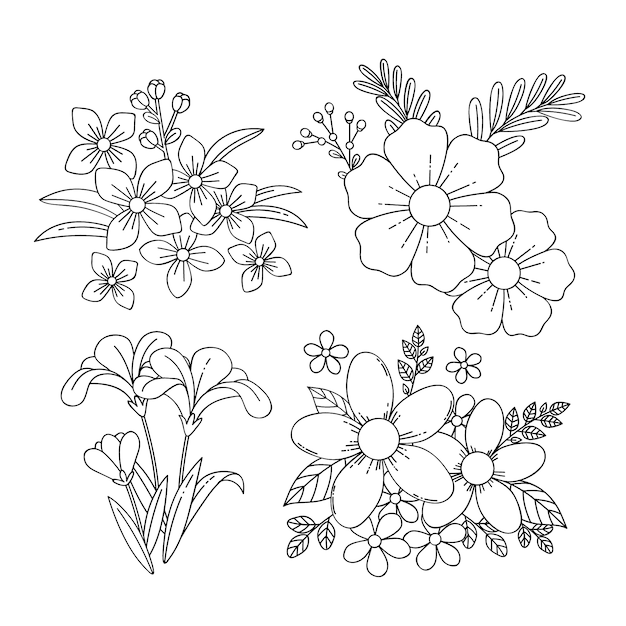 손으로 그린 봄 꽃 모음 무료 벡터