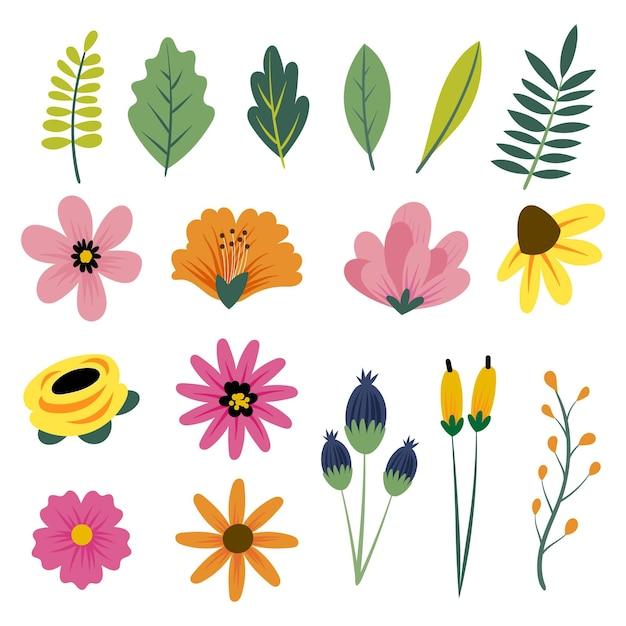 손으로 그린 봄 꽃 컬렉션 무료 벡터