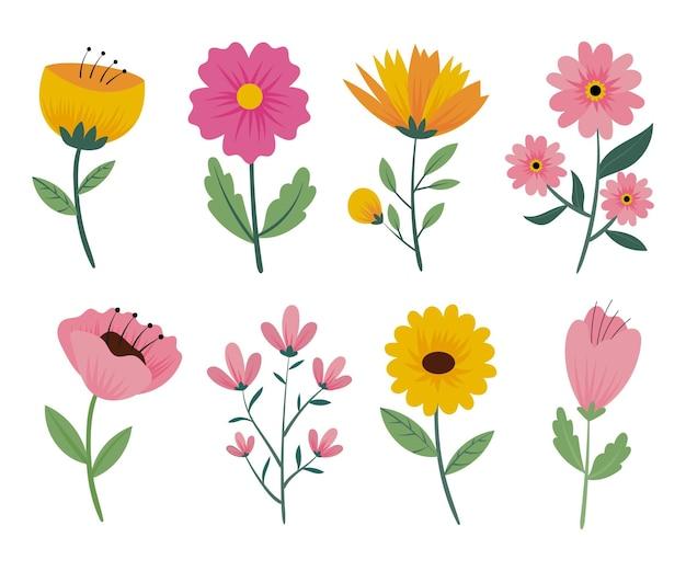 Set di fiori primaverili disegnati a mano Vettore gratuito