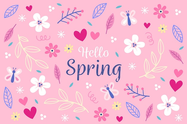 Hand drawn spring flowers wallpaper Free Vector