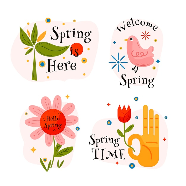 Hand-drawn spring label collection Free Vector