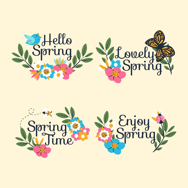 Hand drawn spring labels collection Free Vector