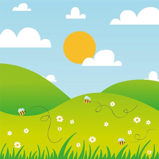 Ручной обращается весенний пейзаж с пчелами и солнцем Бесплатные векторы