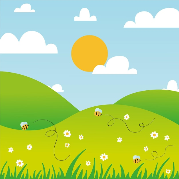Hand drawn spring landscape with bees and sun Free Vector