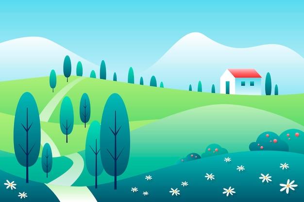 손으로 그린 하우스와 봄 풍경 무료 벡터