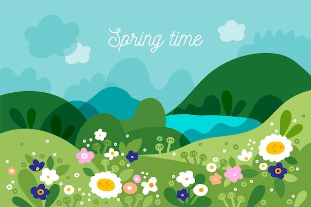 手描きの春の風景 無料ベクター