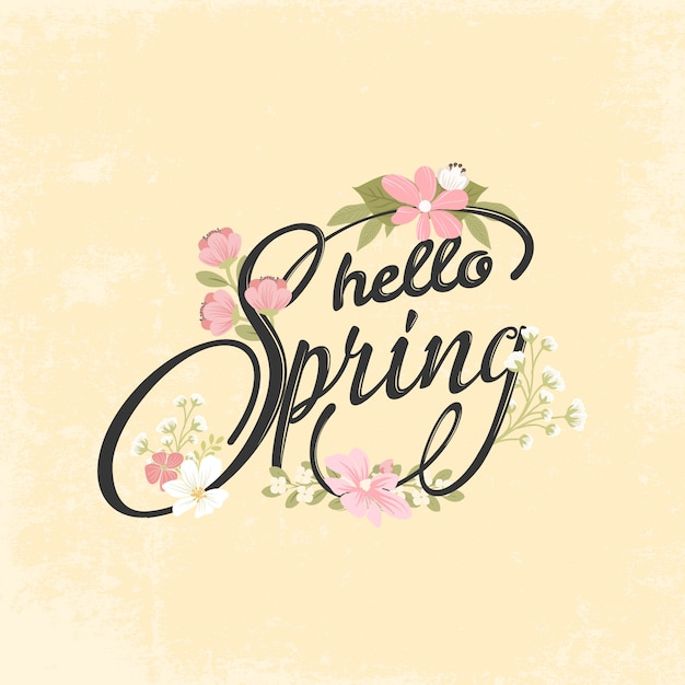 Hand drawn spring lettering background Premium Vector