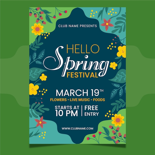 Hand-drawn spring party flyer template Free Vector