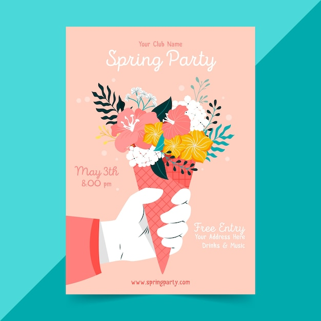 Hand drawn spring party flyer template Free Vector