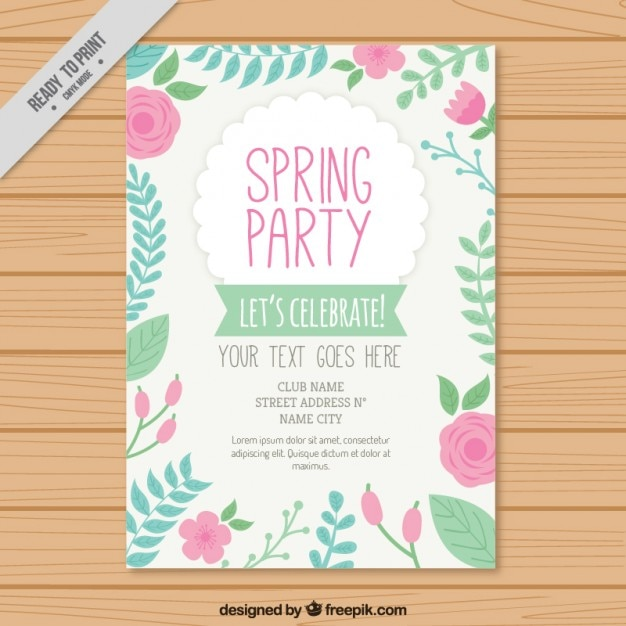 Hand drawn spring party flyer with roses Vector – Spring Party Flyer