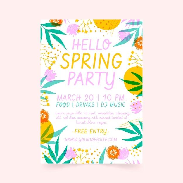 손으로 그린 봄 파티 포스터 템플릿 무료 벡터