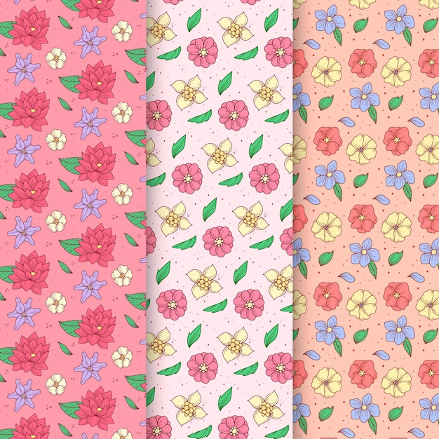 Hand drawn spring pattern collection with assortment of flowers Free Vector