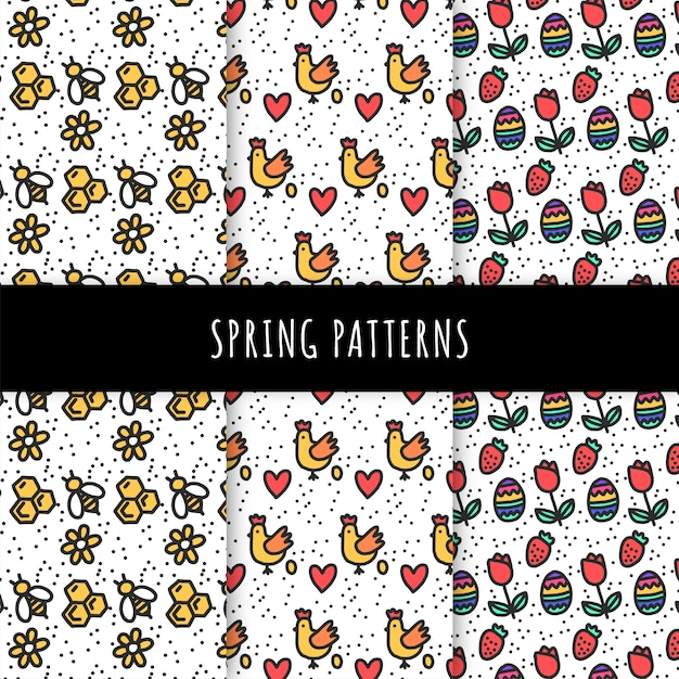 Hand drawn spring pattern collection with bees and chickens Free Vector