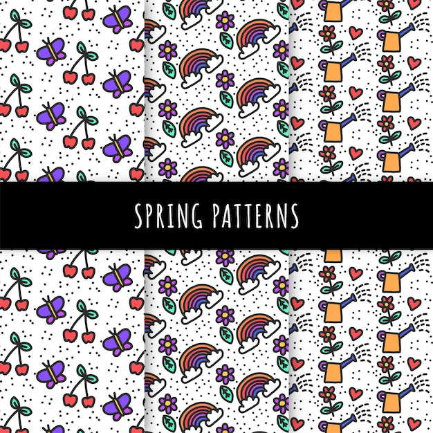Hand drawn spring pattern collection with cherries and butterflies Free Vector