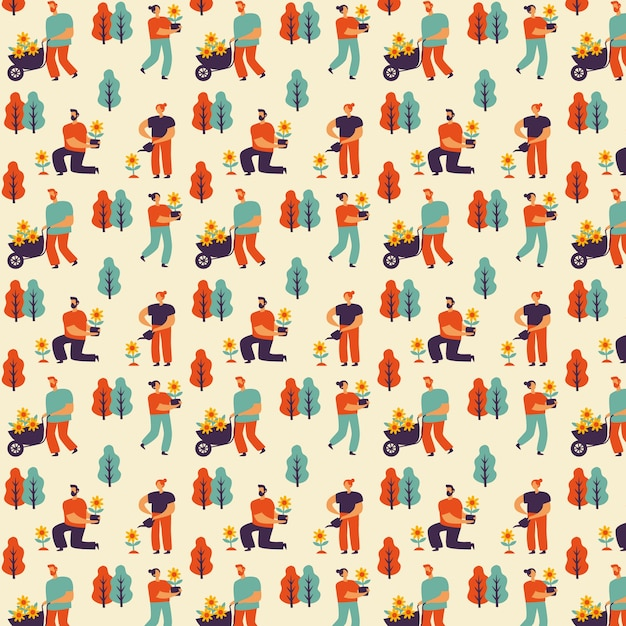 Hand drawn spring pattern collection with people and gardening Free Vector